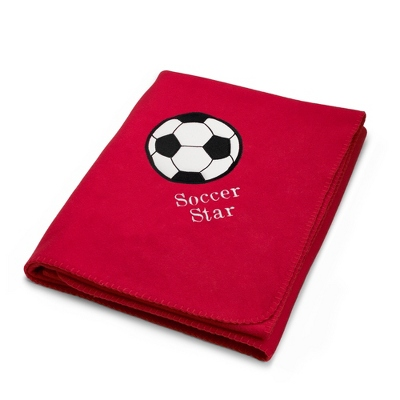 Soccerball Design on Red Fleece Blanket