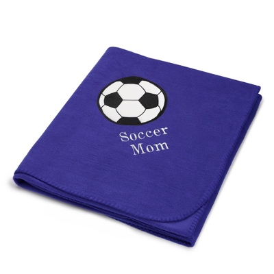 Soccerball Design on Purple Fleece Blanket