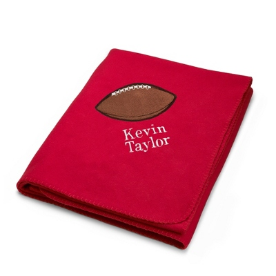 Football Design on Red Fleece Blanket