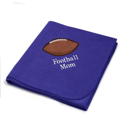 Football Design on Purple Fleece Blanket