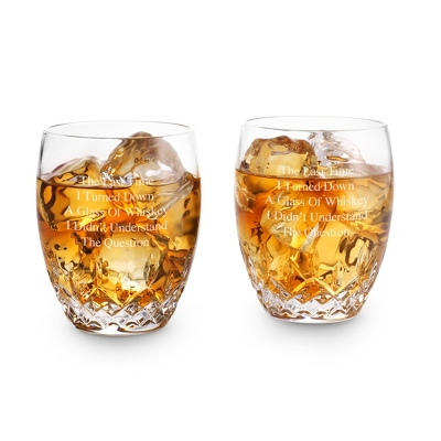 Engraved Crystal Old Fashioned Glasses
