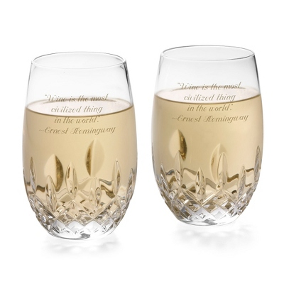 Waterford Lismore Nouveau Stemless White Wine Pair - Cut Crystal Gifts