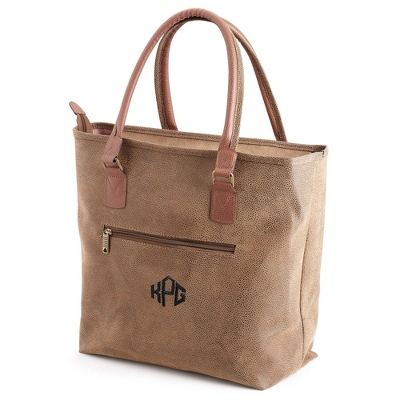 Brown Scotch Grain Tote - Embroidered Totes & Accessories