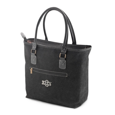 Black Scotch Grain Tote - Embroidered Totes & Accessories