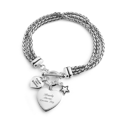 Silver Bracelet Engraved Words