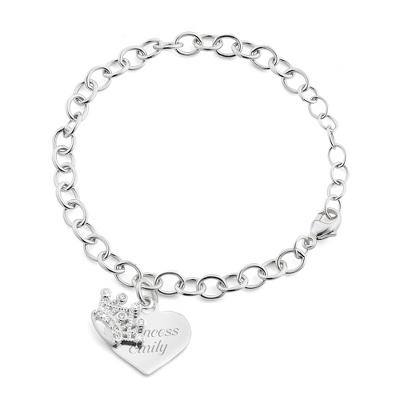 Girl's Sterling Tiara Bracelet with complimentary Filigree Heart Box - Flower Girl