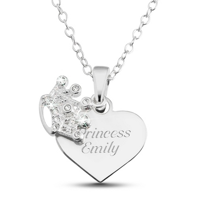Girl's Sterling Tiara Necklace with complimentary Filigree Heart Box