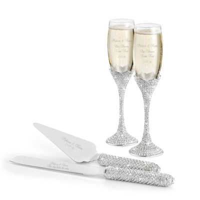 Personalized Pewter Wedding Champagne Flutes
