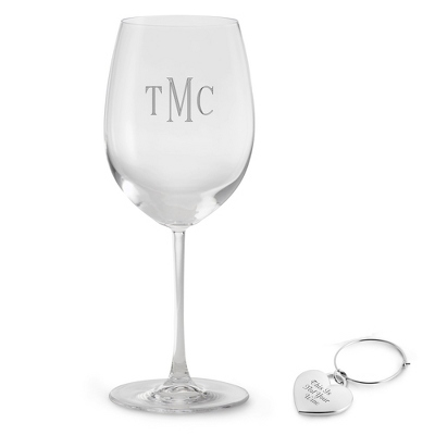 White Wine Glass with Heart Charm Set