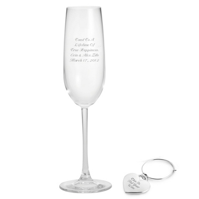 Champagne Glass with Heart Charm Set - Drinkware & Barware