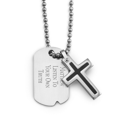 Boy's Black Cross Dog Tag - Horizontal with complimentary Tri Tone Valet Box - Ring Bearer