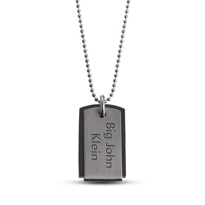 Gunmetal Rubber Center Dog Tag - Horizontal with complimentary Tri Tone Valet Box