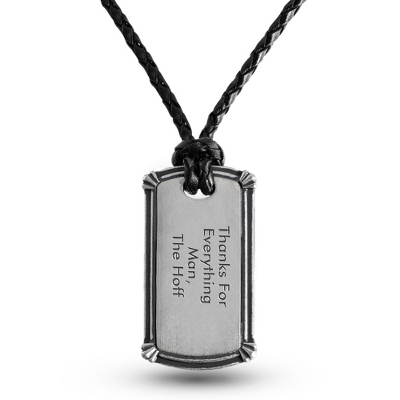 Tumbled Gothic Border Dog Tag - Horizontal with complimentary Tri Tone Valet Box - Men's Jewelry