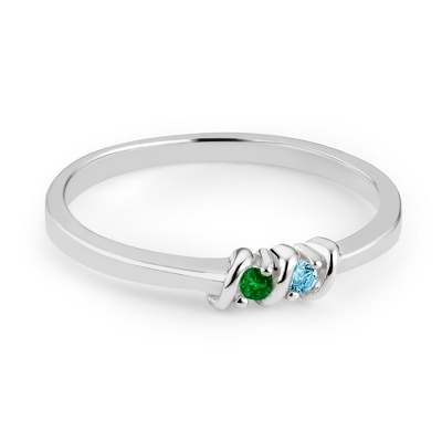 Silver Ring with Birthstones