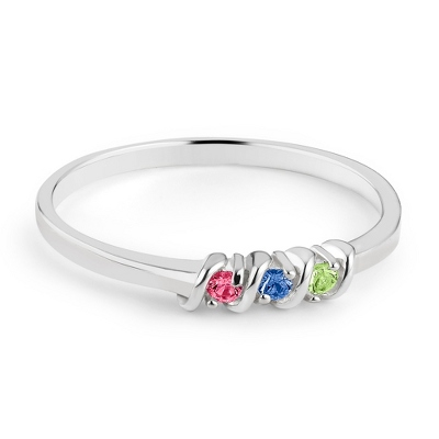 Sterling Silver Petite 3 Birthstone Ring with complimentary Filigree Keepsake Box - UPC 825008274549