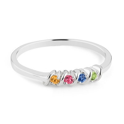 Sterling Silver Petite 4 Birthstone Ring with complimentary Filigree Keepsake Box - $50.99