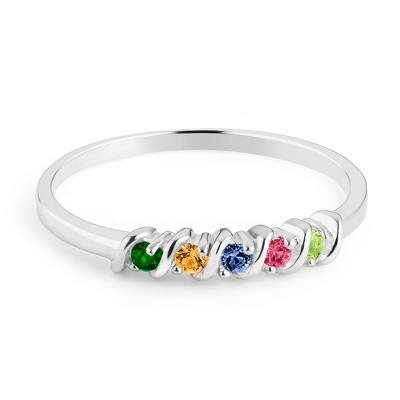 Sterling Silver Petite 5 Birthstone Ring with complimentary Filigree Keepsake Box - $54.99