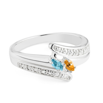 Sterling Marquis 2 Birthstone Ring with Diamond Accents with complimentary Filigree Keepsake Box