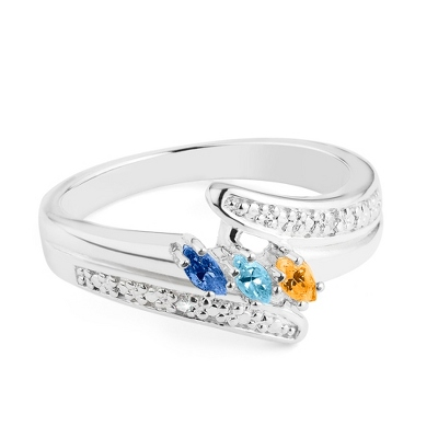 Sterling Marquis 3 Birthstone Ring with Diamond Accents with complimentary Filigree Keepsake Box
