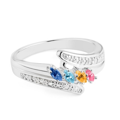 Sterling Marquis 4 Birthstone Ring with Diamond Accents with complimentary Filigree Keepsake Box