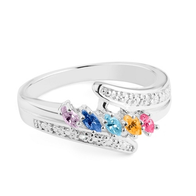Sterling Marquis 5 Birthstone Ring with Diamond Accents with complimentary Filigree Keepsake Box