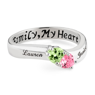 Sterling Silver 2 Birthstone Heart Family Ring with complimentary Filigree Keepsake Box
