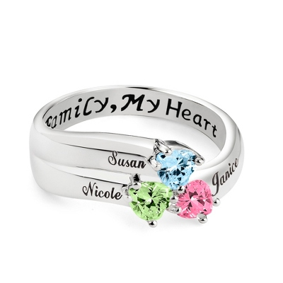 Sterling Silver 3 Birthstone Heart Family Ring with complimentary Filigree Keepsake Box