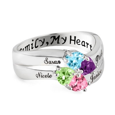 Sterling Silver 4 Birthstone Heart Family Ring with complimentary Filigree Keepsake Box