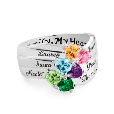 Sterling Silver 6 Birthstone Heart Family Ring with complimentary Filigree Keepsake Box - Sterling Silver Women's Jewelry