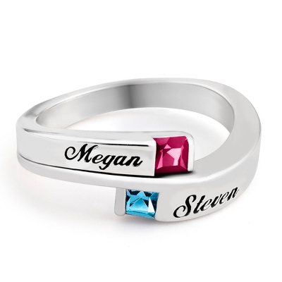 Sterling True Love Couples Ring with complimentary Filigree Keepsake Box - Sterling Silver Family Birthstone Jewelry
