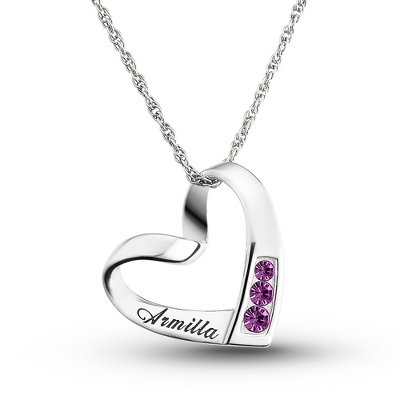 Sterling Birthstone and Name Heart Necklace with complimentary Filigree Keepsake Box