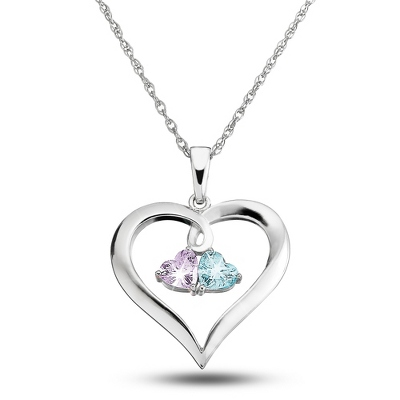 Sterling Silver Couples Birthstone Necklace with complimentary Filigree Keepsake Box - UPC 825008274815