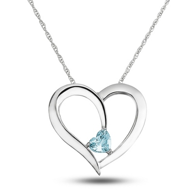Sterling Silver Daughter's Birthstone Heart Necklace with complimentary Filigree Keepsake Box - Sterling Silver Necklaces