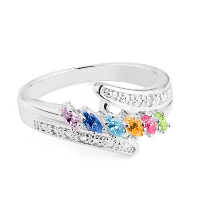Sterling Marquis 6 Birthstone Ring with Diamond Accents with complimentary Filigree Keepsake Box