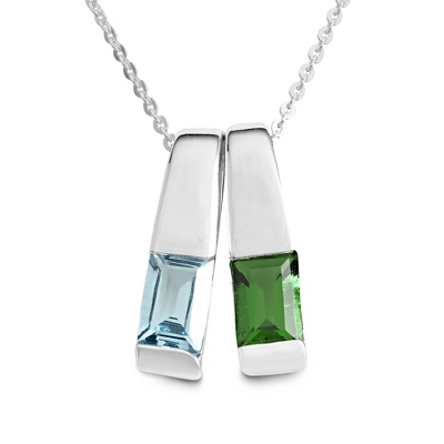 Sterling Silver 2 Birthstone Slider Necklace with complimentary Filigree Keepsake Box - $47.99