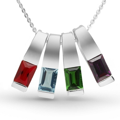 Sterling Silver 4 Birthstone Slider Necklace with complimentary Filigree Keepsake Box - Sterling Silver Necklaces