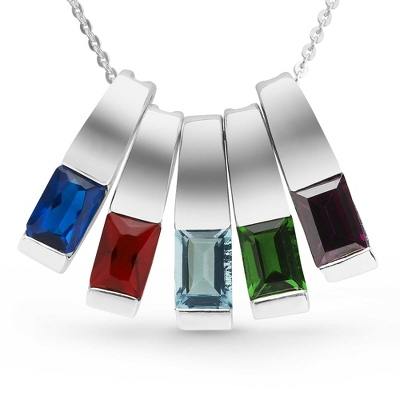 Sterling Silver 5 Birthstone Slider Necklace with complimentary Filigree Keepsake Box - Sterling Silver Necklaces