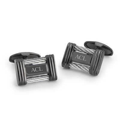 Cable Cuff Links with complimentary Weave Texture Valet Box