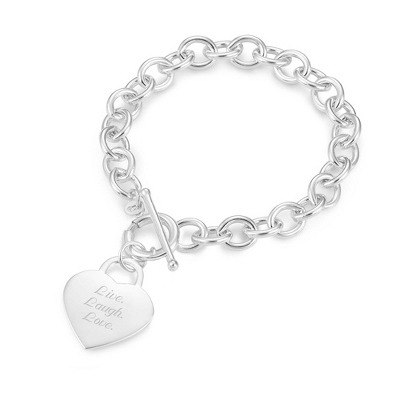 Classic Bracelet with Heart Charm with complimentary Filigree Keepsake Box