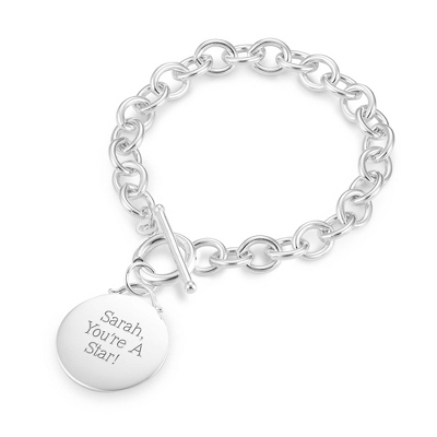 Classic Bracelet with Round Charm with complimentary Filigree Keepsake Box