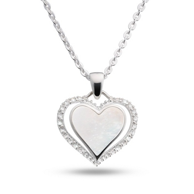 Sterling Silver Mother of Pearl Heart Necklace with complimentary Filigree Keepsake Box