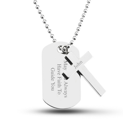 Boy's Silver Cross Dog Tag- Horizontal with complimentary Tri Tone Valet Box