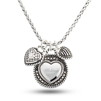 Personalized 2 Piece Heart Necklace