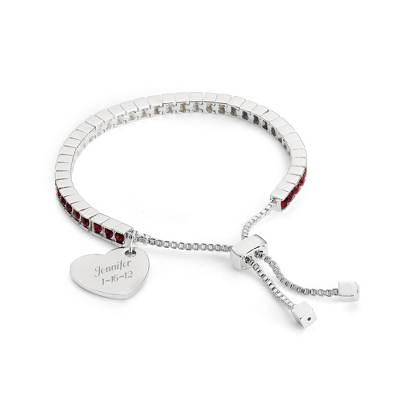 Birthstone Lariat Bracelet - January with complimentary Filigree Keepsake Box - UPC 825008279759