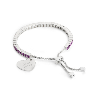 Birthstone Lariat Bracelet - February with complimentary Filigree Keepsake Box - Fashion Bracelets & Bangles