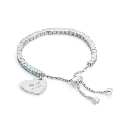 Birthstone Lariat Bracelet - March with complimentary Filigree Keepsake Box - Fashion Bracelets & Bangles