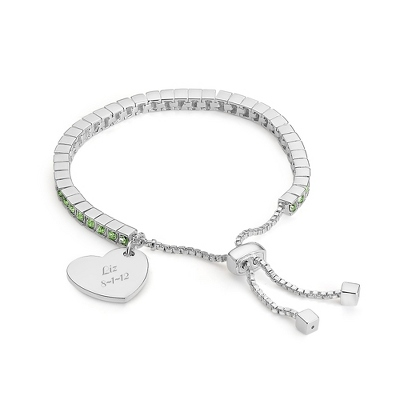 Birthstone Lariat Bracelet - August with complimentary Filigree Keepsake Box - Fashion Bracelets & Bangles