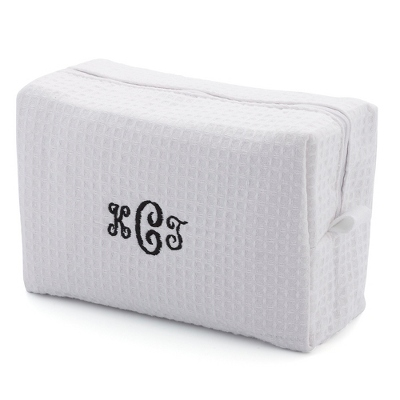 Embroidered White Waffle Weave Cosmetic Bag - Embroidered Bridesmaids Gifts