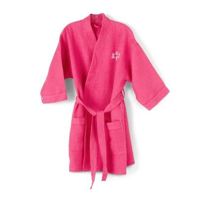 Embroidered Fuchsia Kimono Waffle Weave Robe