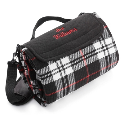 Black Plaid Outdoor Throw